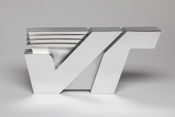 Photo of Velocetec logo device machined and polished