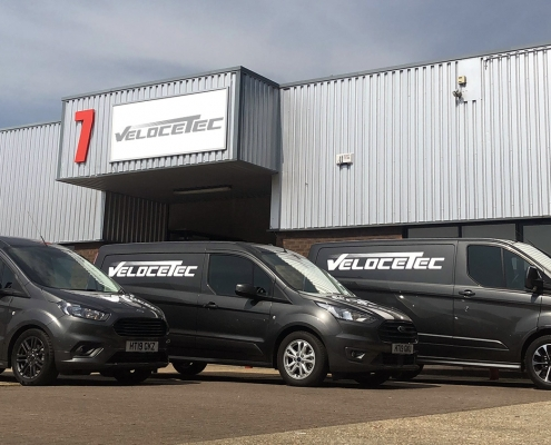 Photo of the new fleet of Velocetec vans